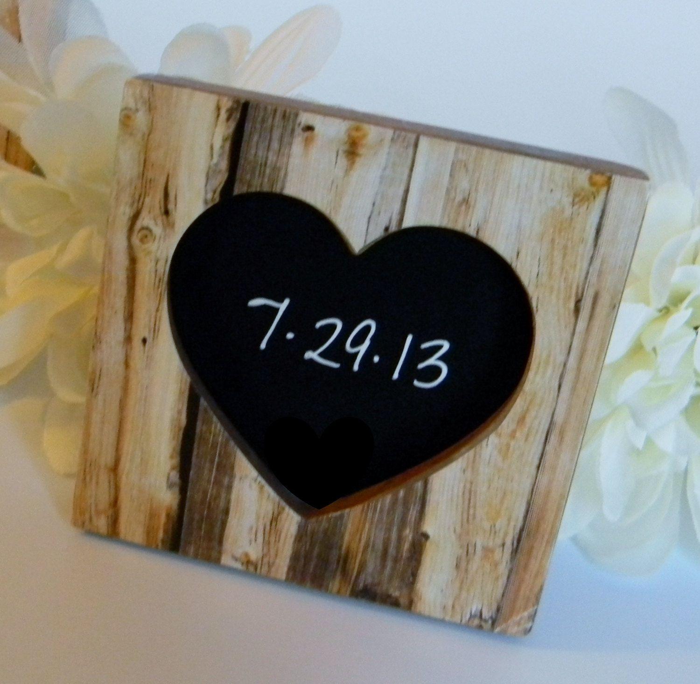 New 10 Rustic Faux Wood Heart Wedding Chalkboard Frames 3 Place