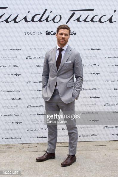 Xabi Alonso grey suit tie full windsor knot