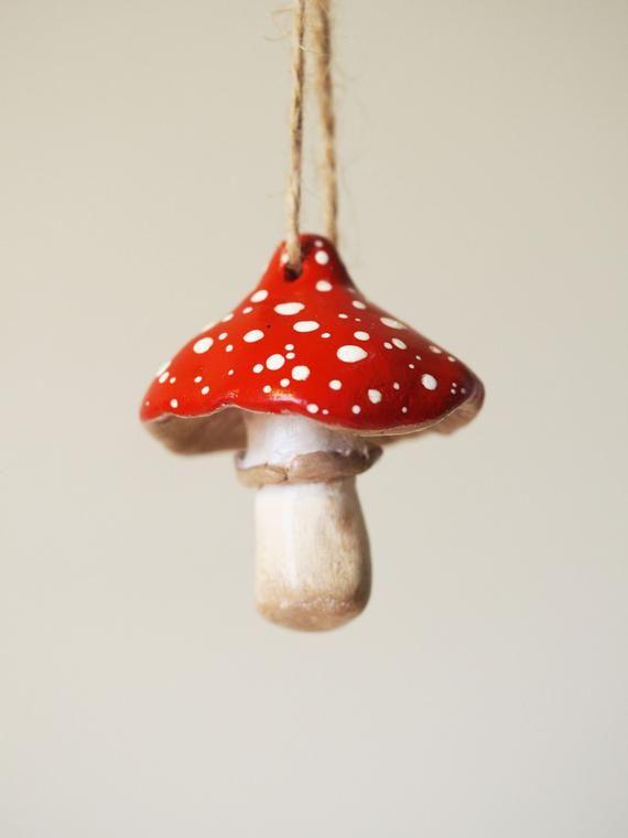 Photo of Mushroom decor – Clay mushroom ornament – Mushroom Christmas ornament – Mushroom figurine – Woodland nursery decor – Hanging mushroom decor