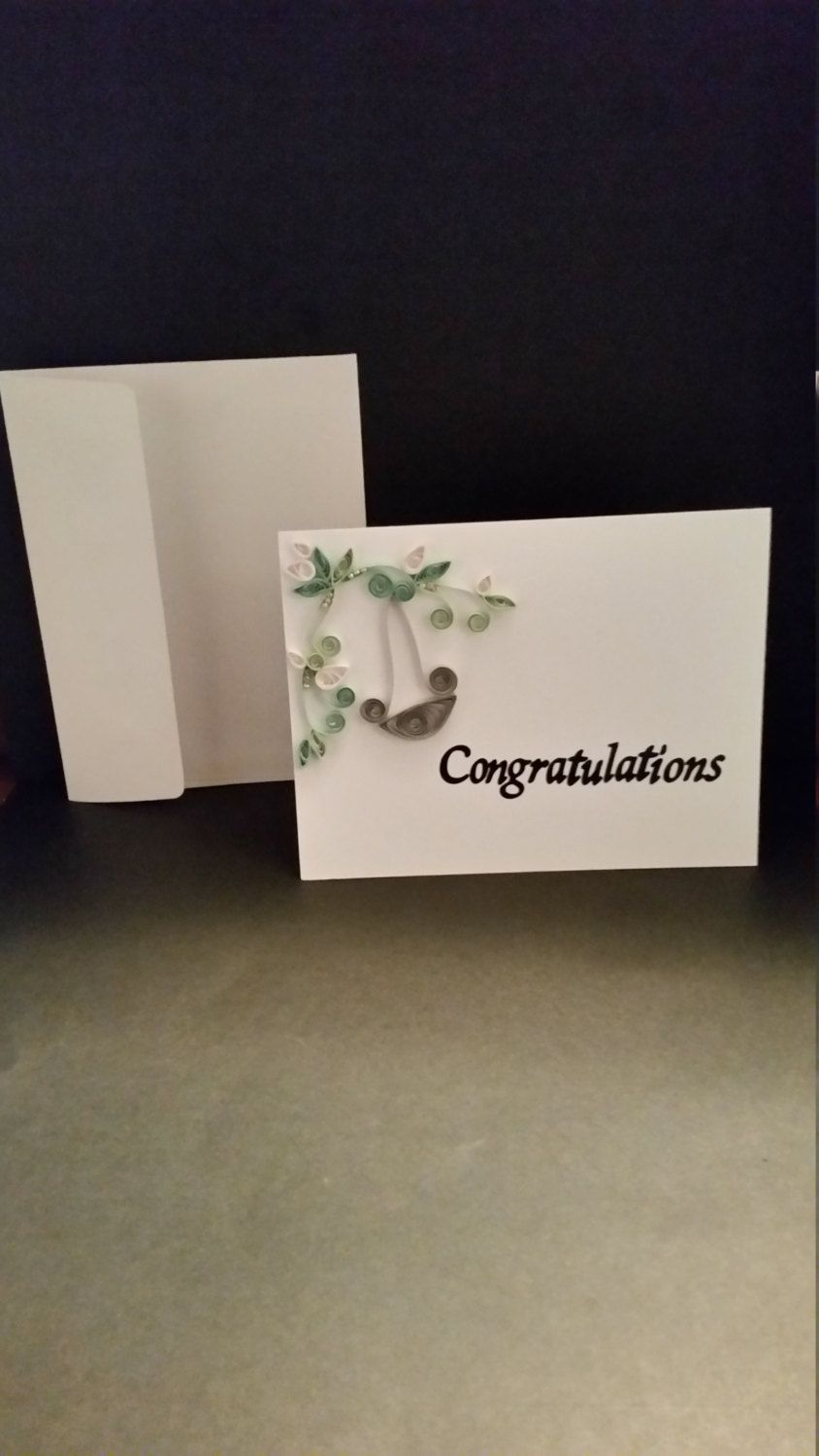 Blank White Bottom Open Note Card Embellished With Hand Quilled