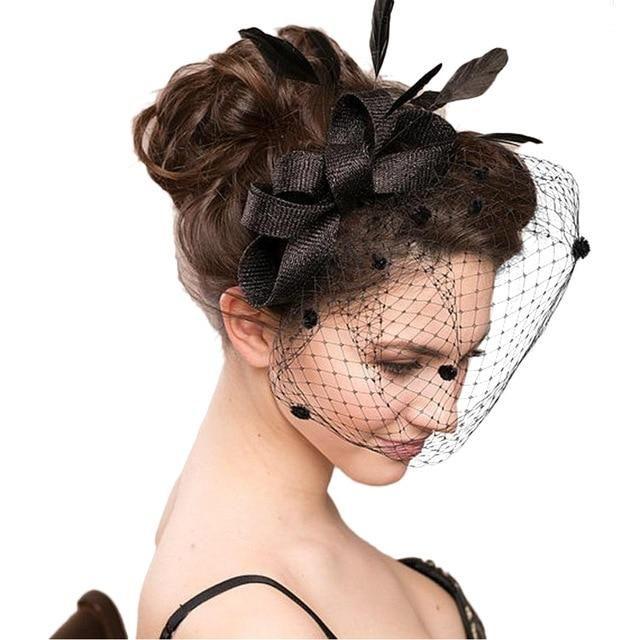 bf26dac90794e Mondaine Bridal Studio Elegant Women Large Headband Clip Net Veil Hat  Fascinator Feather Headwear Mesh Wedding Headband