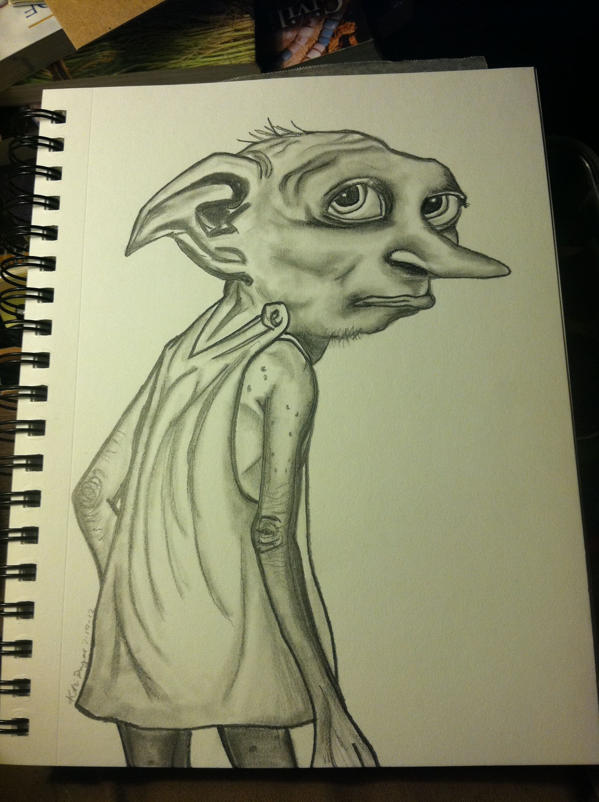 my pencil drawing of the dobby character from harry potter