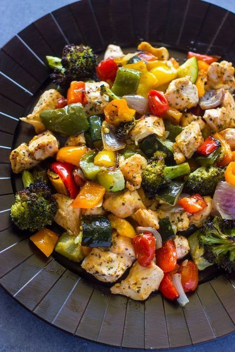 15 Minute Healthy Roasted Chicken and Veggies (One Pan) images