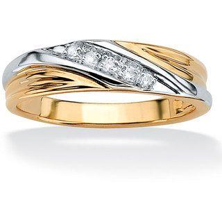 Mens 10k Two Tone Gold 110 TCW Round Diamond Diagonal Wedding