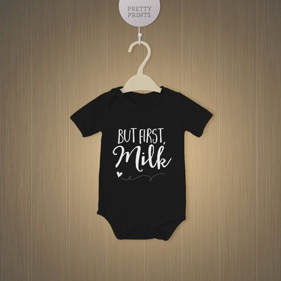 Black baby bodysuit with cute saying But first by Prettyprintsnl
