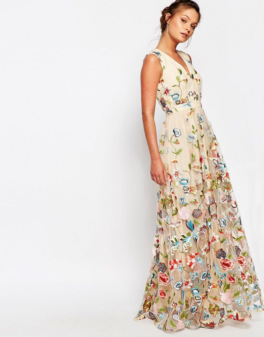 Image 1 of True Decadence All Over Embroidered Floral Maxi Dress ...