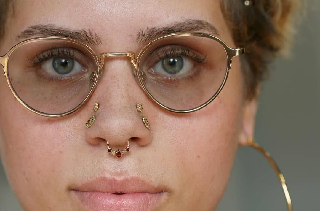 "Nine Moons Piercing on Instagram: ""Stunning high nostrils and photo by @tobiasxva. Jewelry by @bvla. Thank you ♡  @sacredtattoonyc @safepiercing"""
