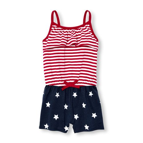cc6aa7a33060 Baby Girls Toddler Americana Sleeveless Stars And Stripes Romper - Red - The  Children s Place