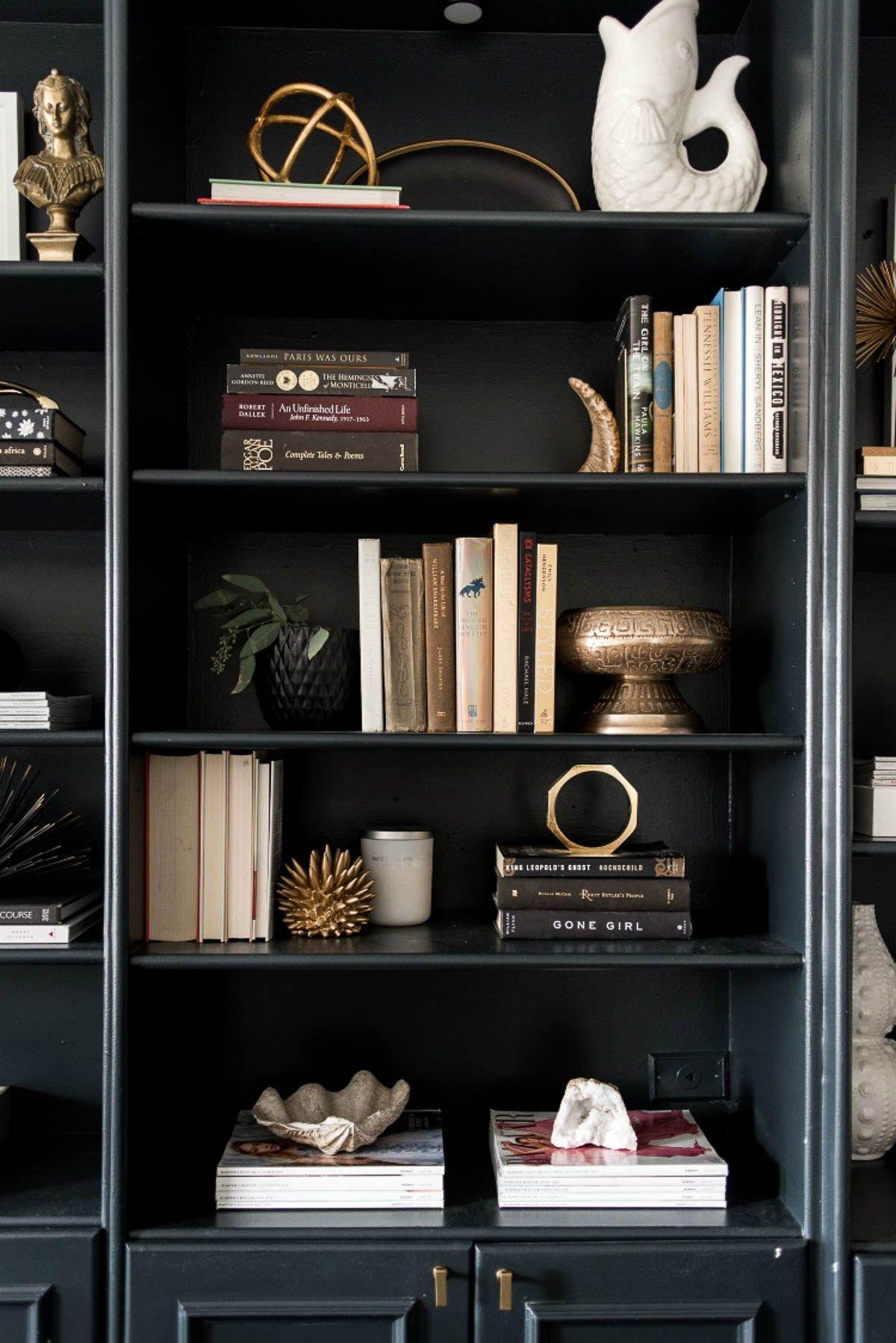 How To Style A Black Bookshelf In 2020 Bookshelf Decor Bookshelf Styling Bookshelf Design