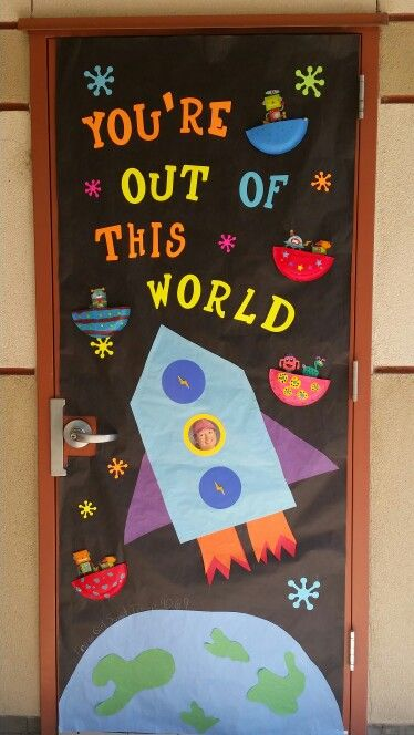 Classroom Launch Ideas ~ Teacher appreciation door with a space theme for quot star