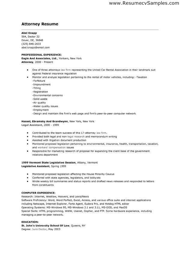 Lawyer Resume Examples It shows the activity when we do the job as - legislative aide sample resume