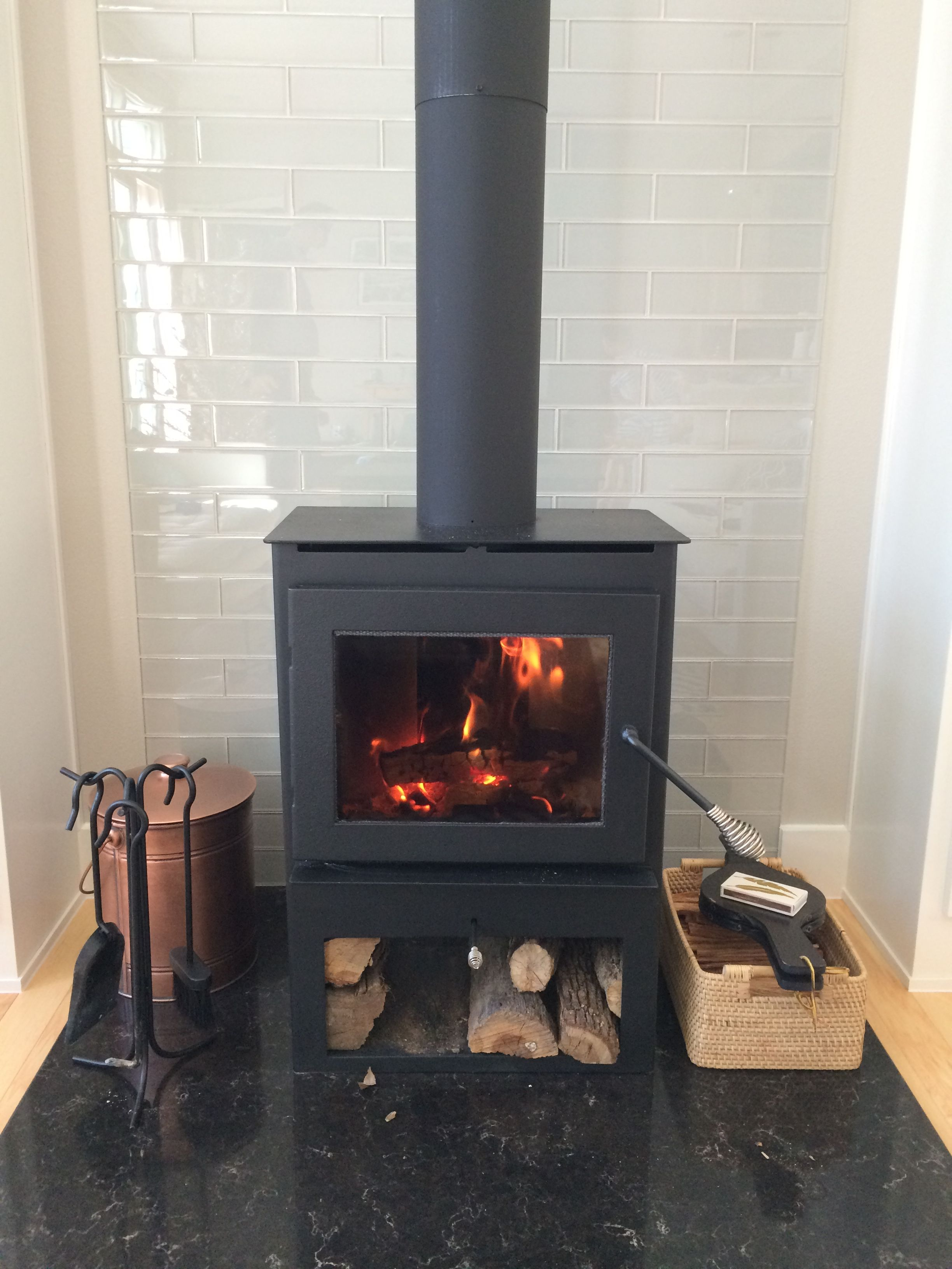 Wood Burning Stove With Glass 3x12 Tile Behind Wood Burning Stove Wood Stove Fireplace Corner Wood Stove