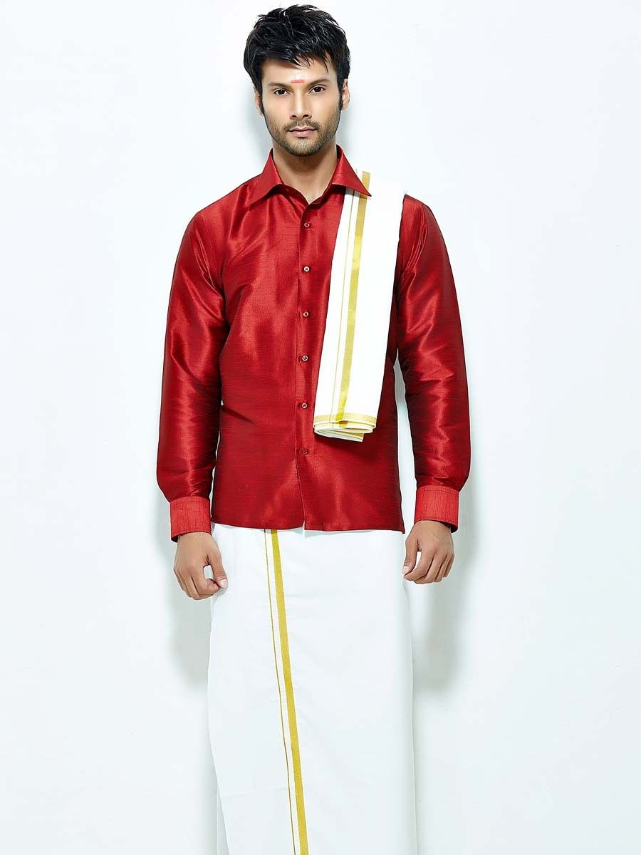 1425e1db9f5f05 Enchanting red color raw silk shirt paired with white color cotton dhoti  and angavastram. Item