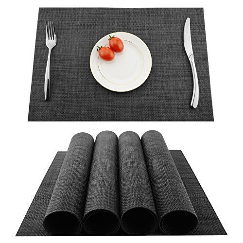 KOKAKO Placemats Washable Dining Table Place Mats PVC Kitchen Table Mats,Set of 4(Dark Gray) | LAVORIST #roundtabledecor