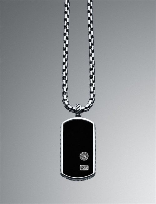 88c6bfdac2bed7 Black onyx/sterling silver DY tag necklace by David Yurman. Men, gifts