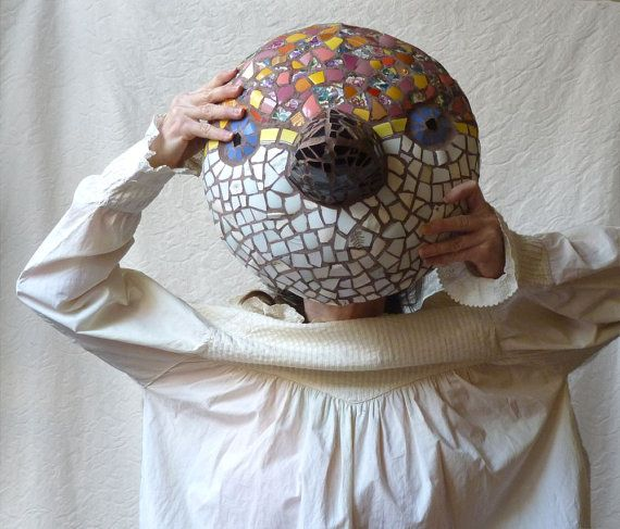 Mosaic Bird Mask Sculpture Wall Hanging for the by ProfessorTiny