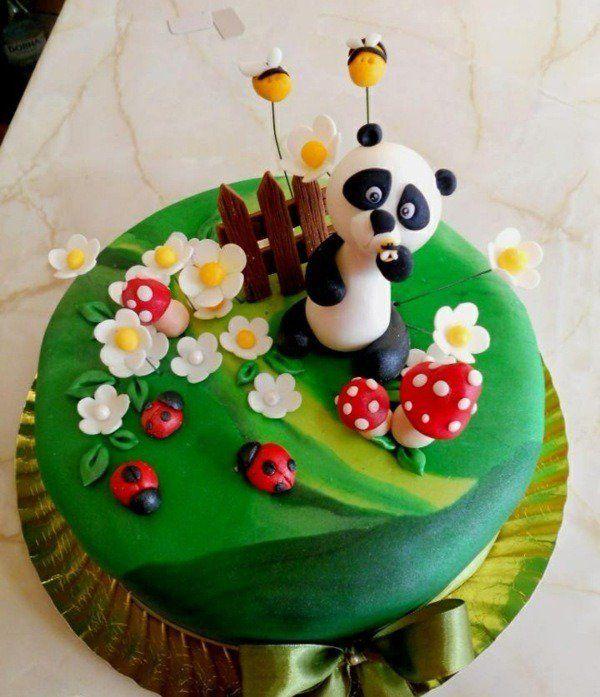 G teau anniversaire original en 75 id es pour fille ou gar on b b s pandas panda et coccinelles - Gateau anniversaire bebe fille ...