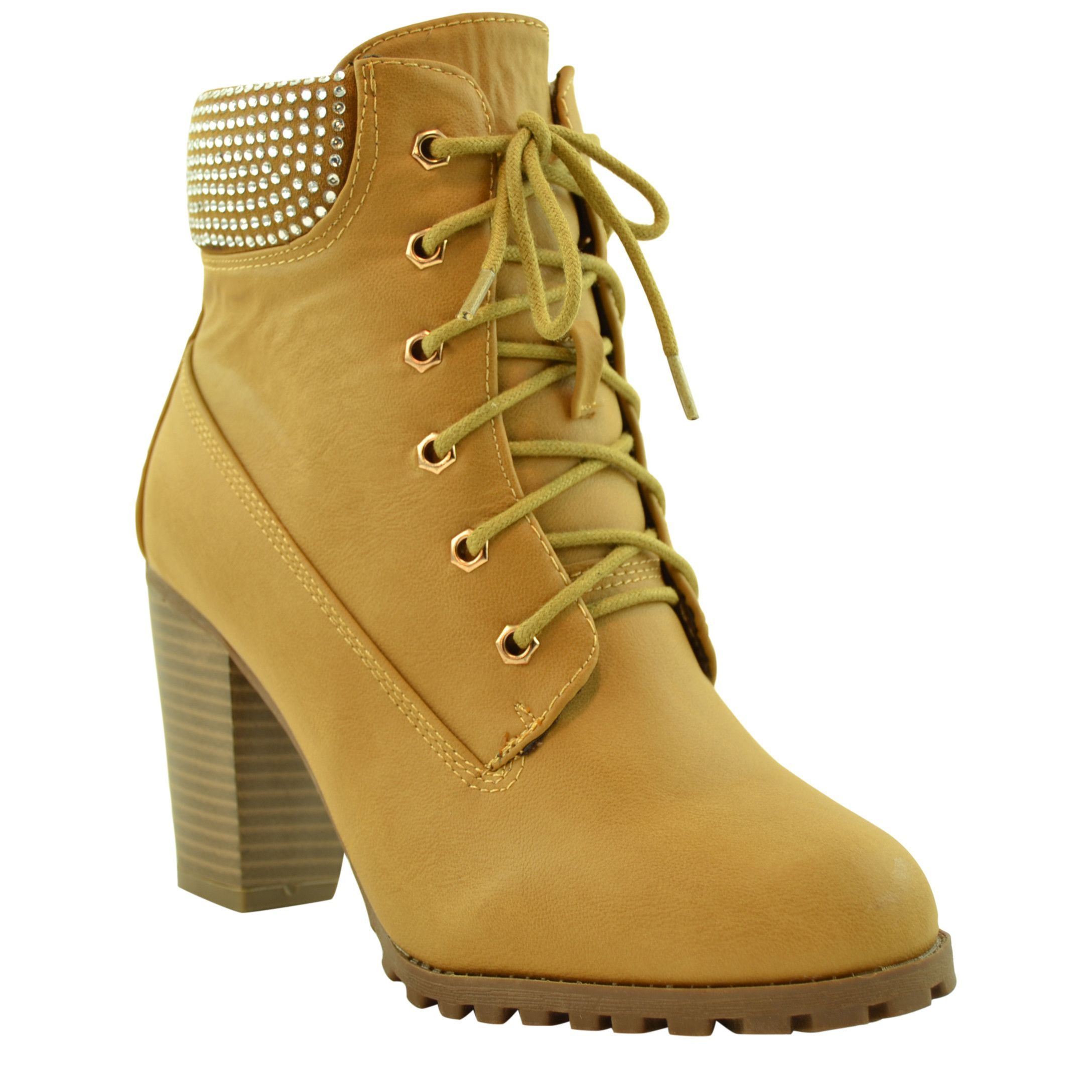 793049673c Women Camel Lace Up Chunky High Heel Construction Boot Ankle Bootie | Snow  Boots | Shoes, Ugg boots clearance, Boots