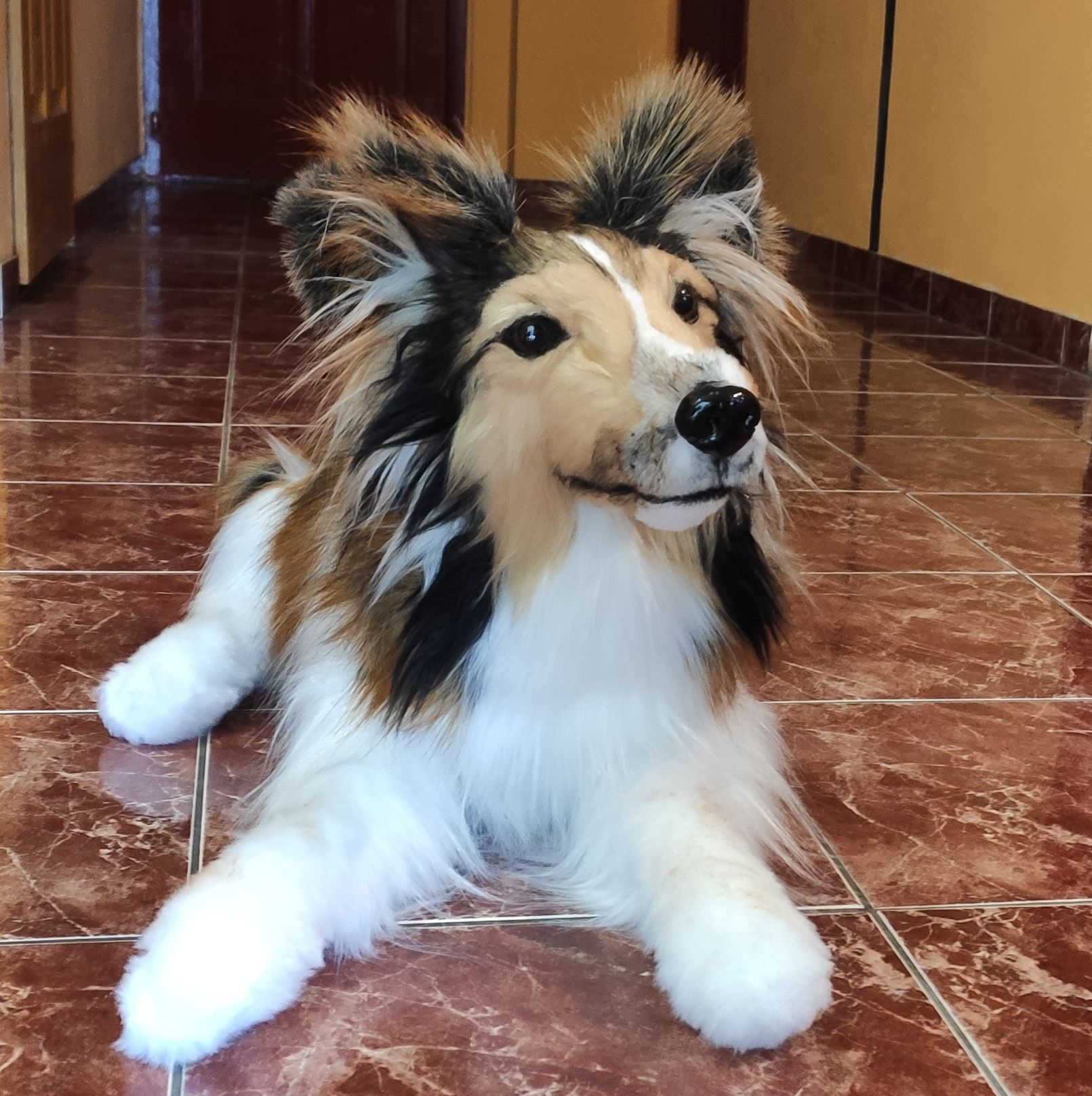 Life Size And Premium Faux Fur Realistic Lying Sheltie Plush Dog Shetland Sheepdog Puppy Toy Stuffed Animal Custom Pet Portrait Toy In 2020 Plush Dog Custom Pet Portraits Sheltie