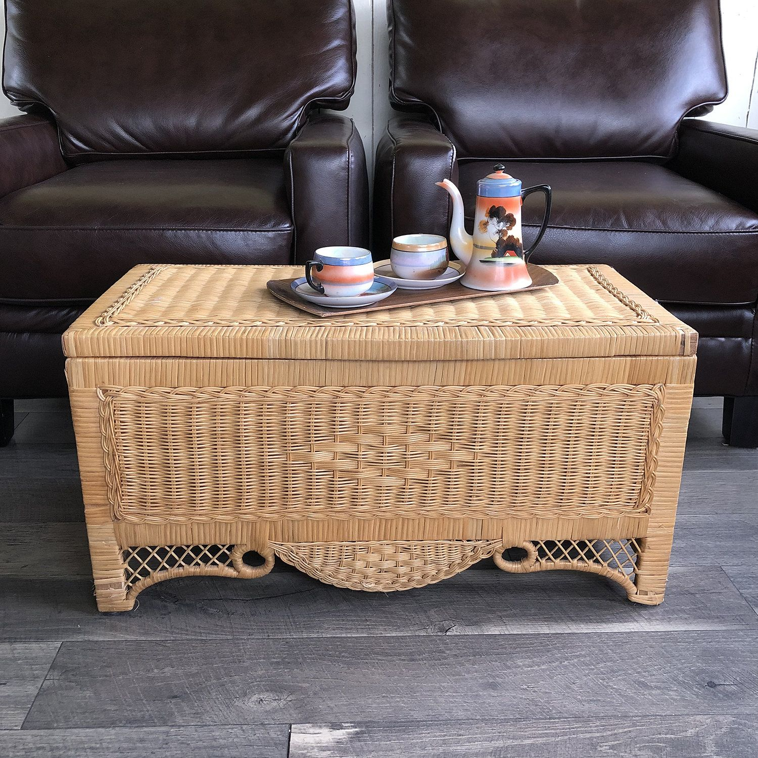 - Vintage Boho Wicker Trunk, Chest, Coffee Table, Rattan Chest, Toy