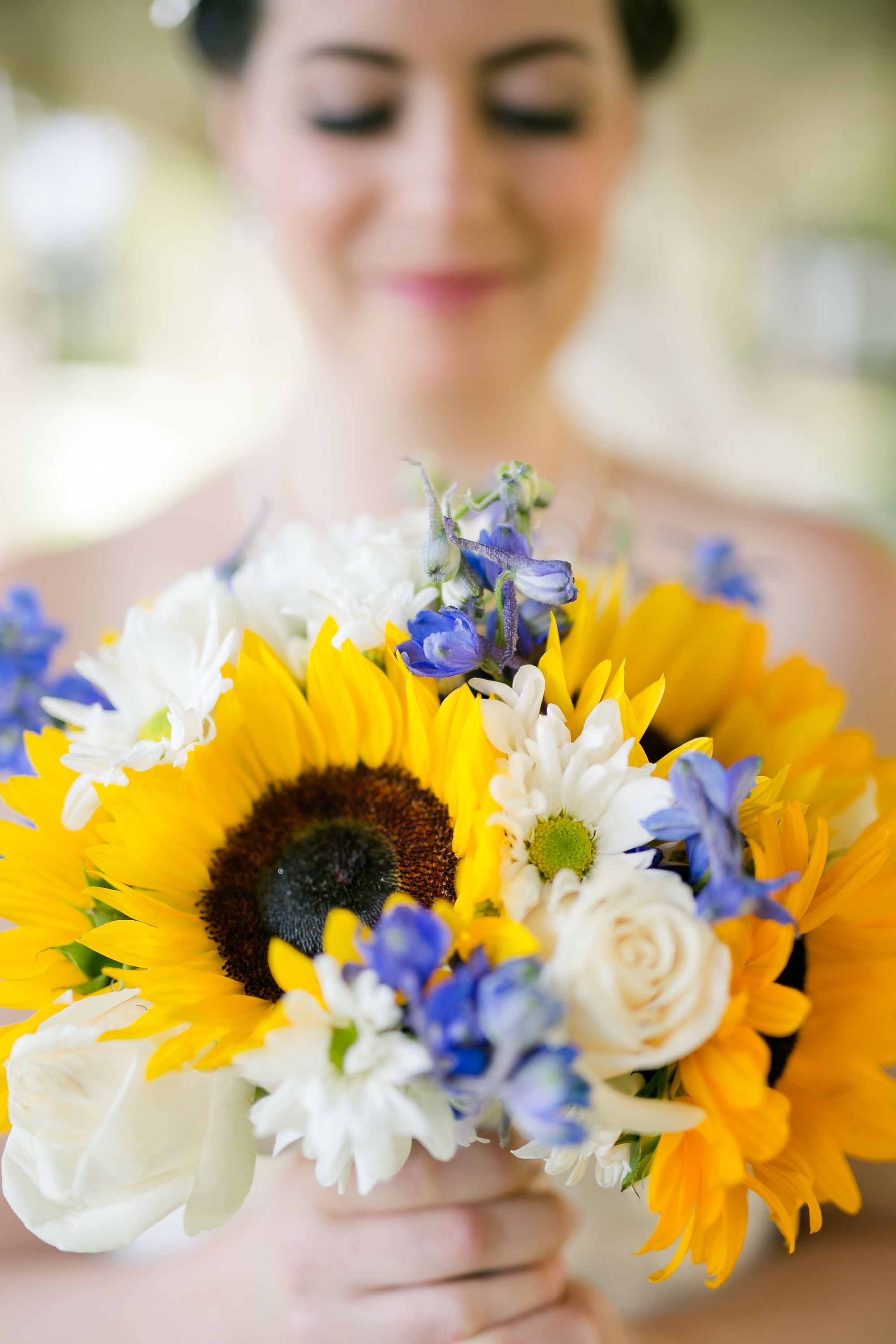 Bridal Bouquet With Cornflowers Roses Sunflowers Daisies And