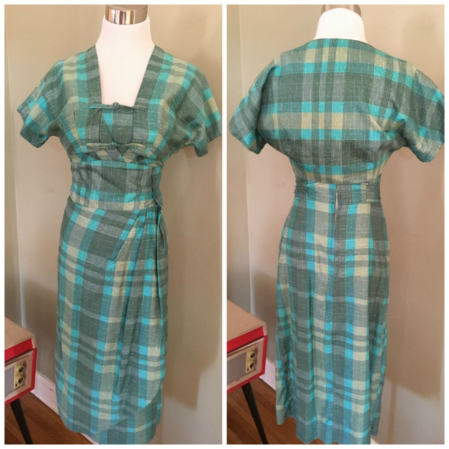 1950s THE KAHALA Made in Honolulu for McKerny Two Piece Blue and Grey Plaid Cotton Matching Bolero and Faux Sarong Dress Set-XS by FuturaVintage on Etsy