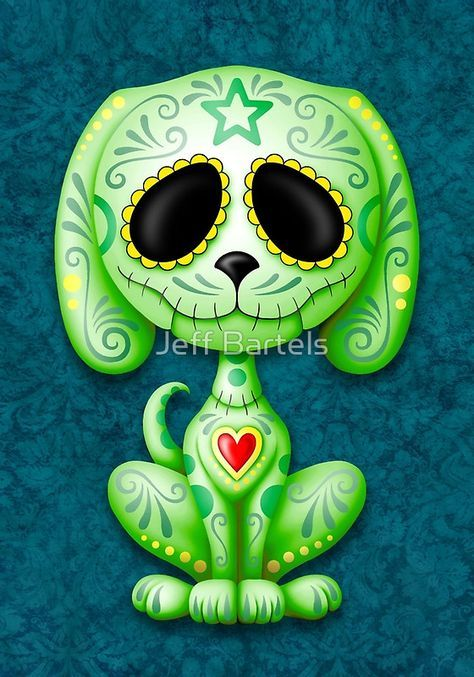 Green Zombie Sugar Skull Puppy Dog | Calaveritass | Pinterest | Mascaras