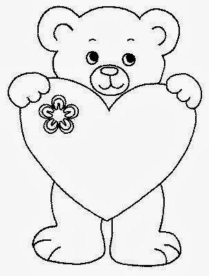 Desenho De Ursinho Com Almofada Coração Para Pintar