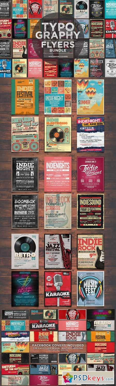 17 Typography Flyers + FB Covers 342059 Psd Pinterest Typography