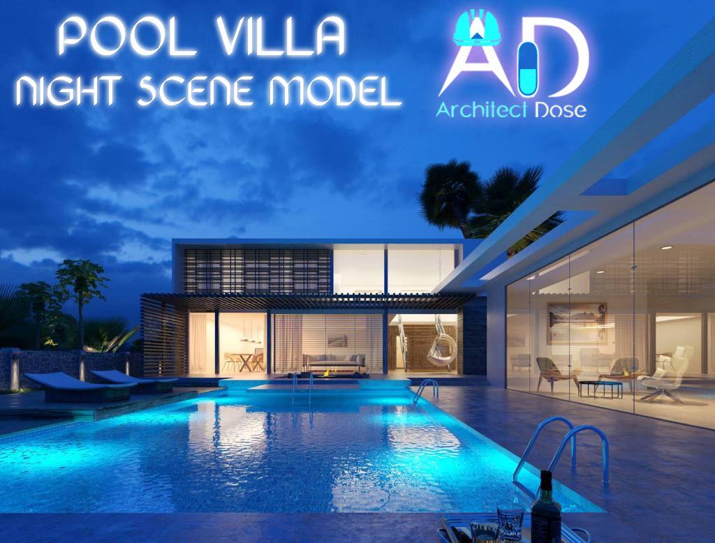 Pool Villa Night Scene model Architecture & Design