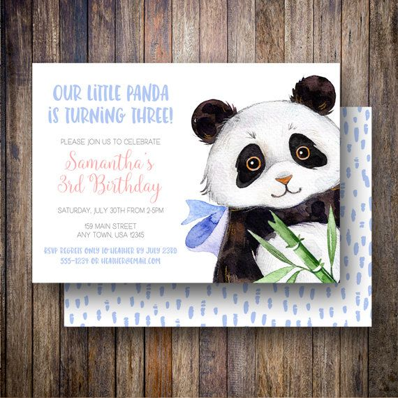 Panda Birthday Party Invitation Watercolor Template Bear Card In Blue C Green Spotted Gum Design Etsy