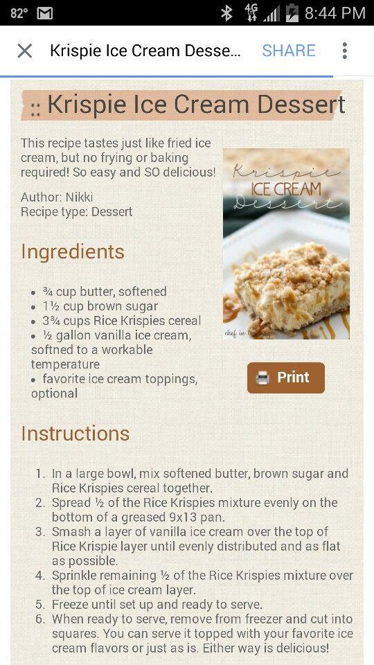 Rice krispie ice cream dessert | Fried ice cream, Fried ...