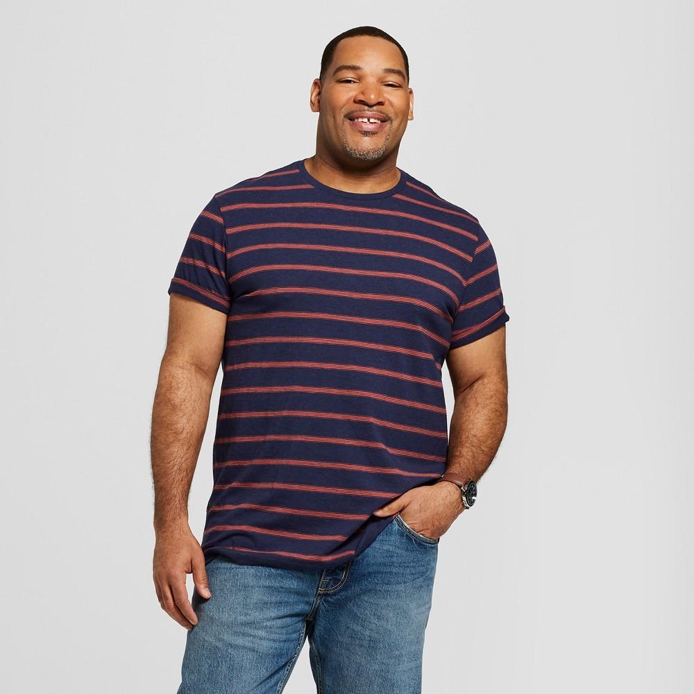 2e4e73f3d988 Men's Big & Tall Striped Short Sleeve Crew Neck Novelty T-Shirt - Goodfellow  & Co Xavier Navy 4XB, Blue