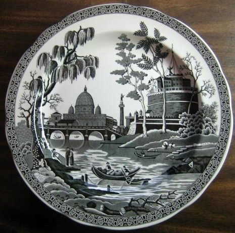 French style decor · Plate WallChina PlatesWhite ... & Black White Toile Exotic Palm River Temple Plate | Toile Exotic and ...