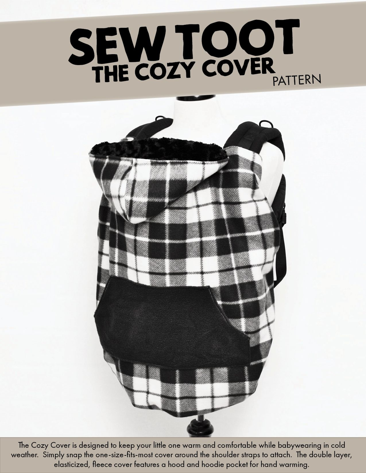 The Cozy Cover - Cold Weather Baby Carrier Cover Pattern by | Nähen