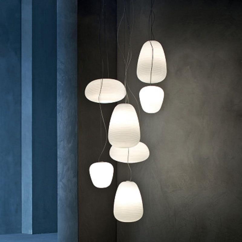 Nordic Simlpe Milky White Pendant Lights E27 Glass Single Head Lamp For Living Room Dining Bedroom Bedside Restaurant Cafe Bar, C