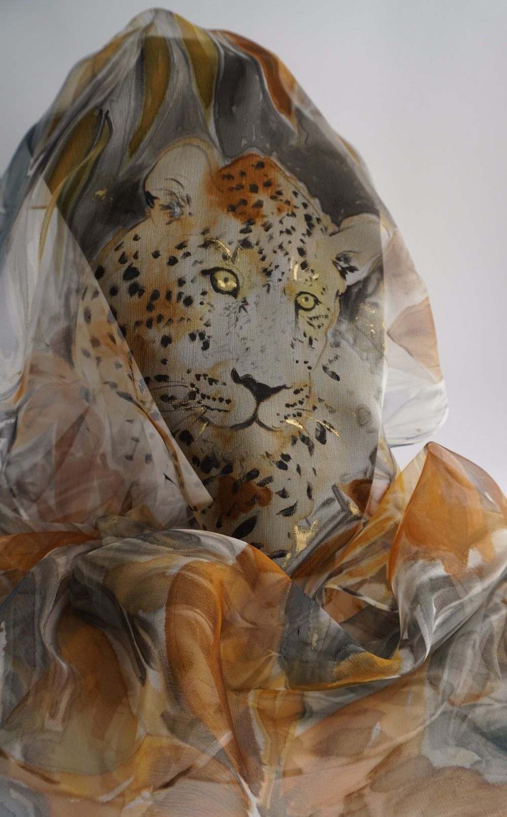 930c328dd740 Etole écharpe foulard en Mousseline de Soie peint main