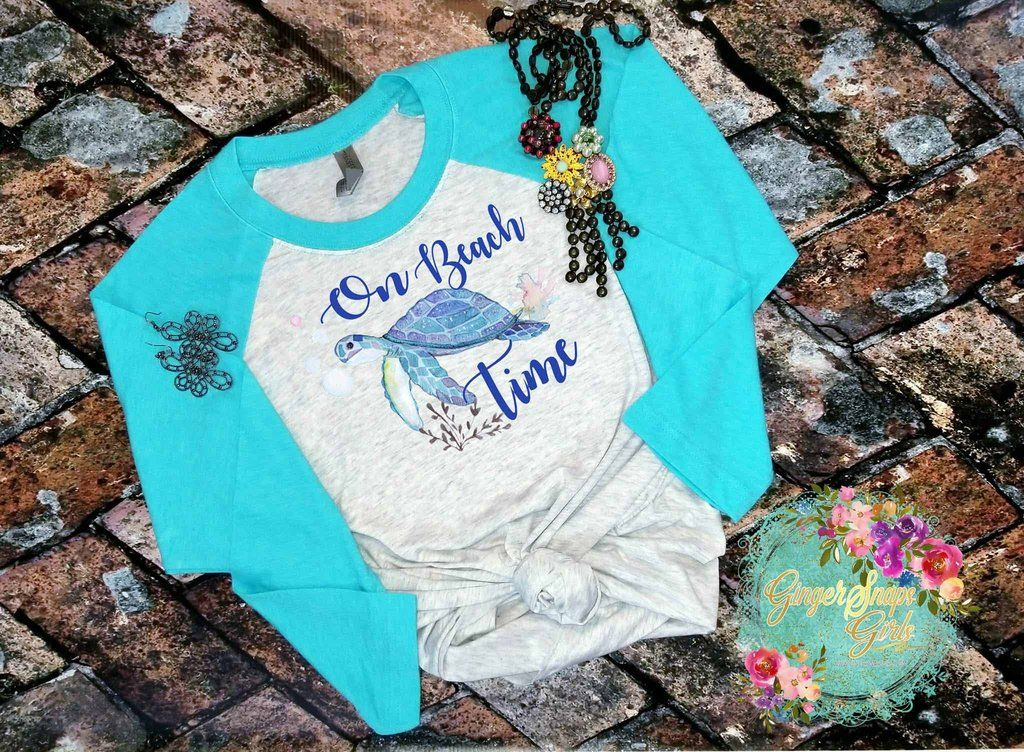On Beach Time Sea Turtle Watercolor Sublimation Transfers Design