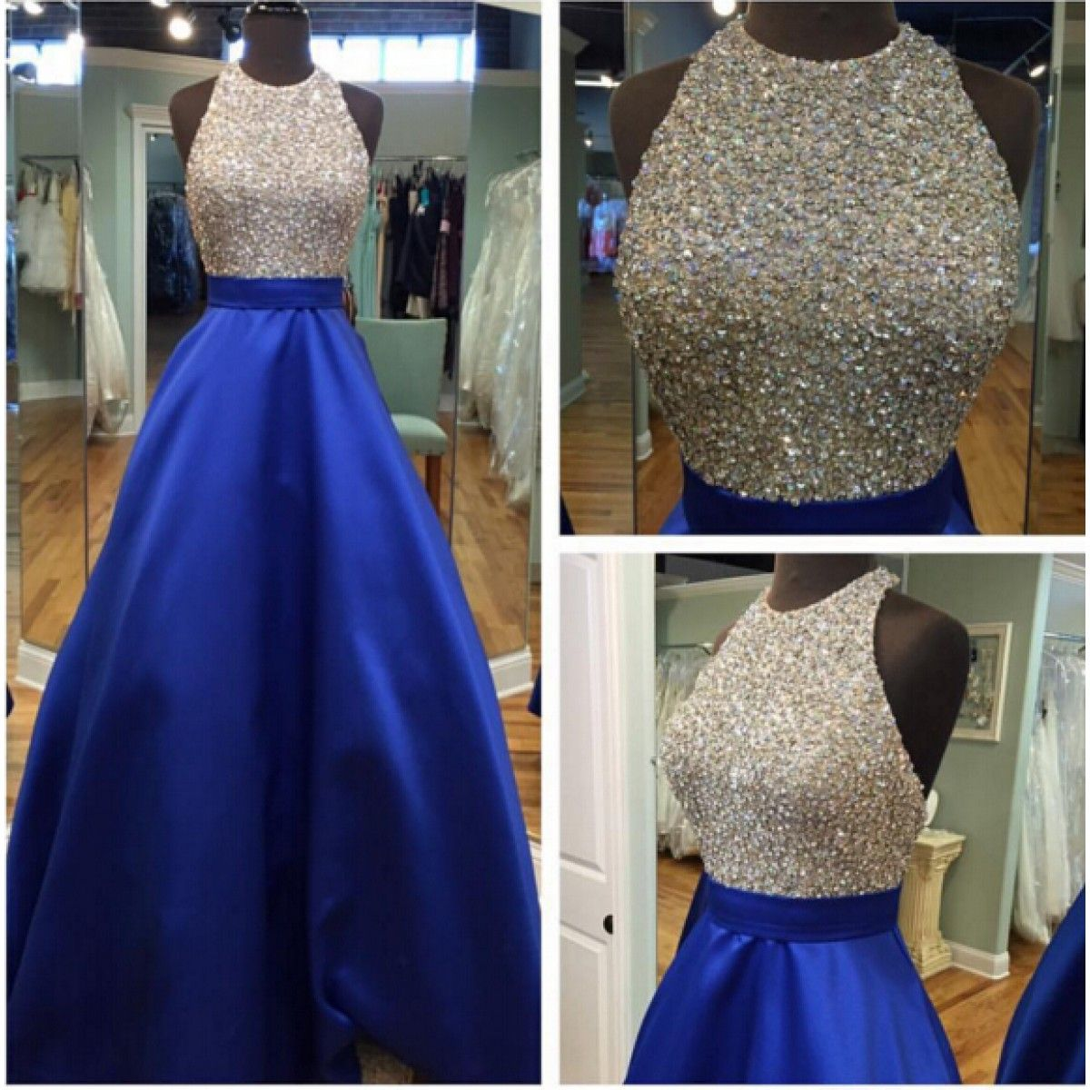 Sparkle A-Line Halter Beading Empire Royal Blue Stain Prom Dresses ...