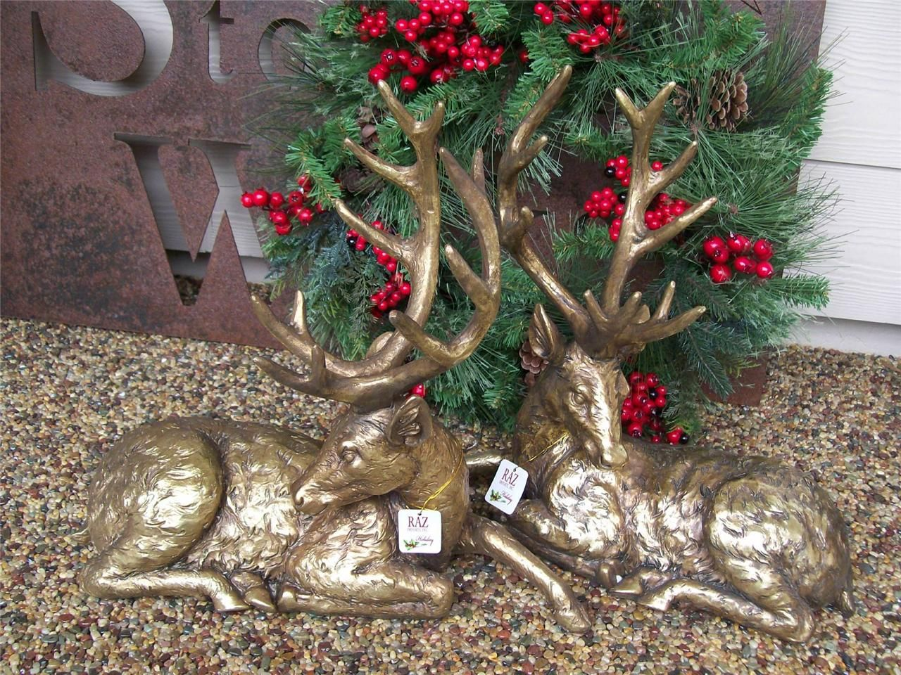 2 Nib Raz Large Gold Laying Reindeer Deer Christmas Hearth Table Decor Figures Hearth Decor Christmas Deer Decor Display