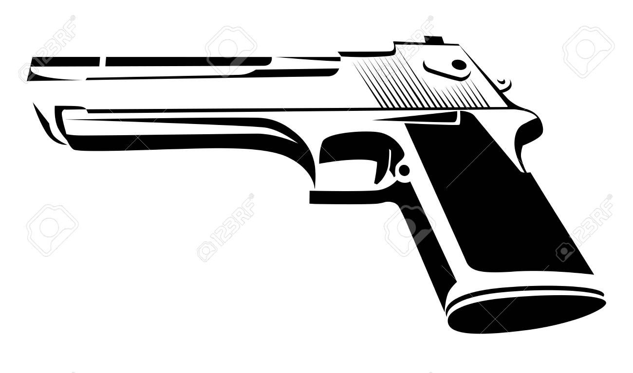 Desert Eagle in black and white  Power Pistol isolated on white Style Design of Force Weapon Vector Illustration Illustration
