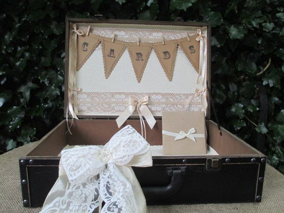 Wedding Card Suitcase Post Box Wooden Vintage Style By Theivorybow