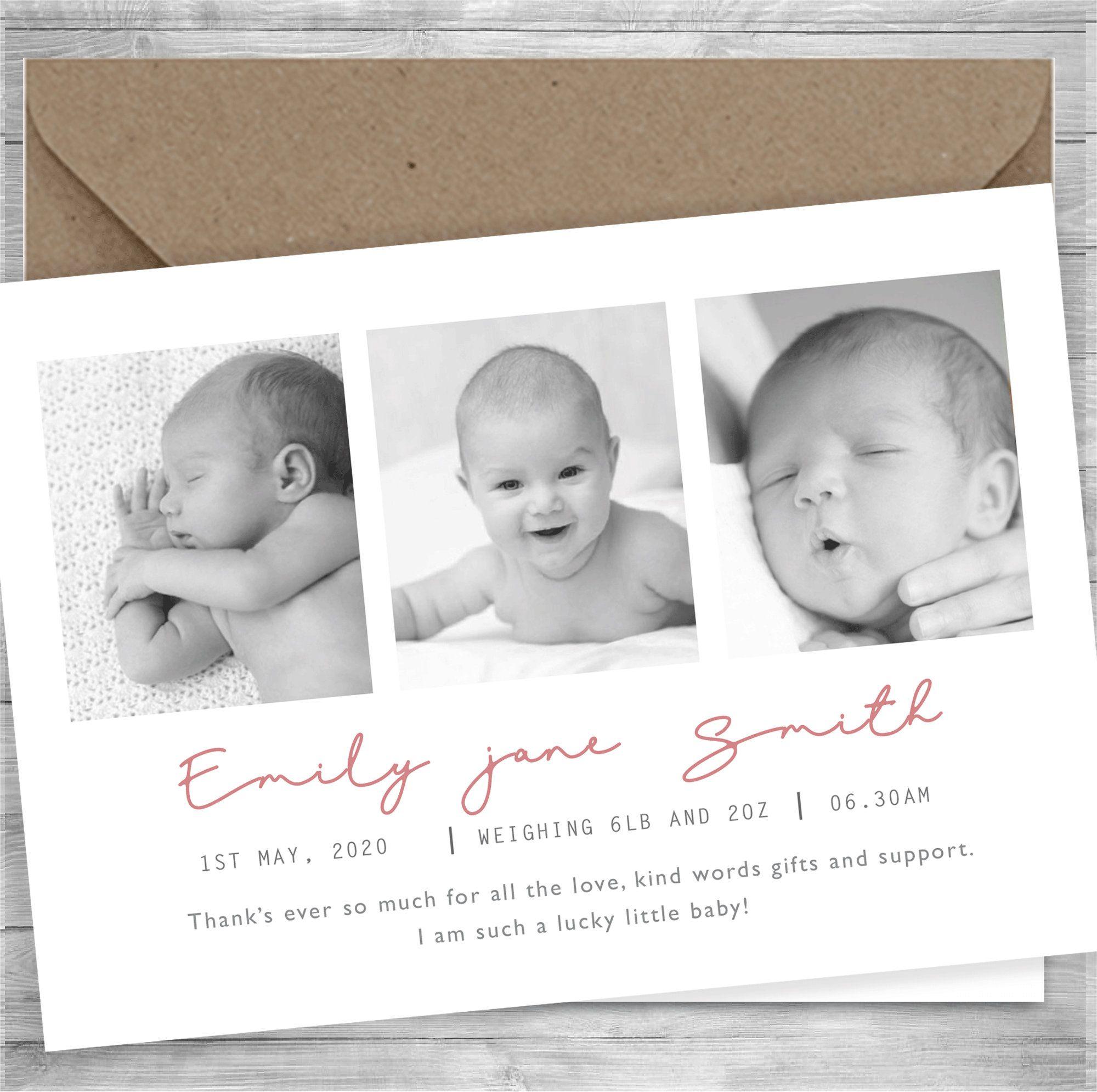 Rainbow Baby Printable Photo Birth Announcement Baby Thank you card Rainbow