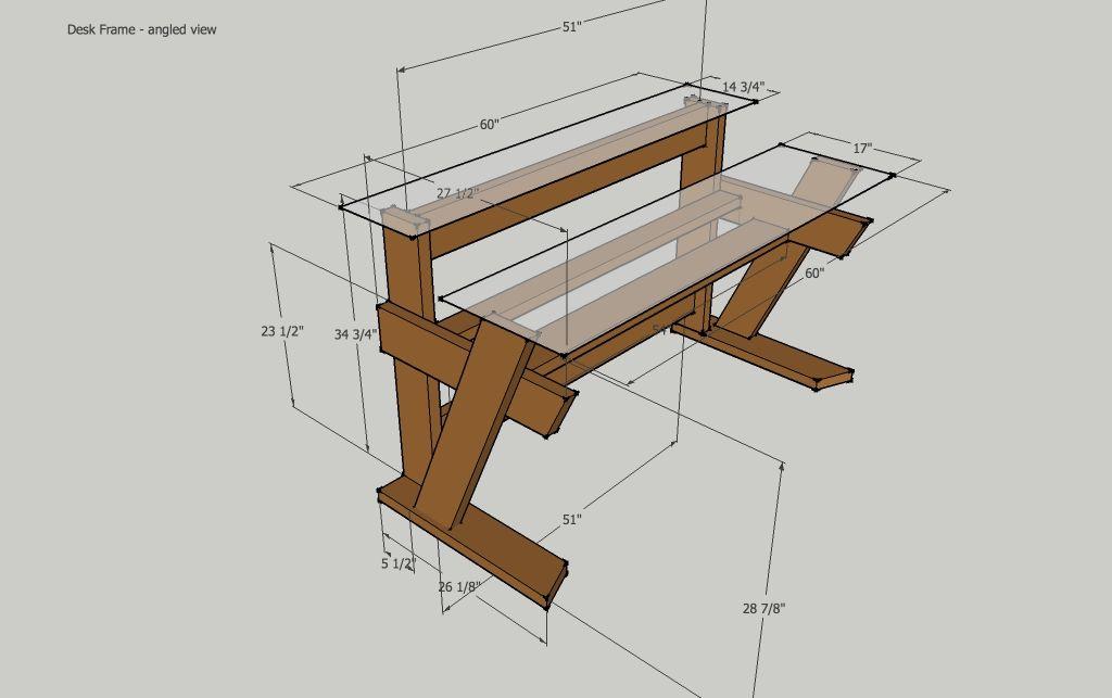 Diy studio desk keyboard workstation under 0 studio desk for Desk building plans