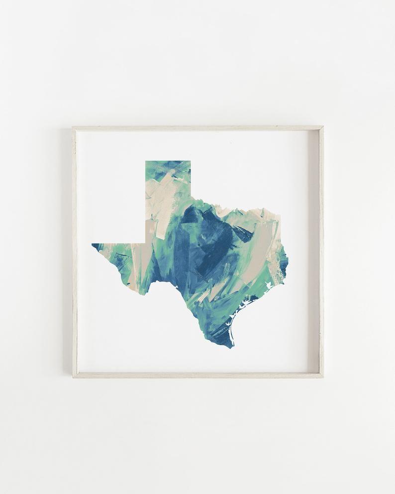 Texas Map Prints Texas Art Prints Teal Texas Wall Art Modern Texas Decor Dallas Texas Paintings State Of Texas Map Texas Wall Art Shipping Art Prints Art