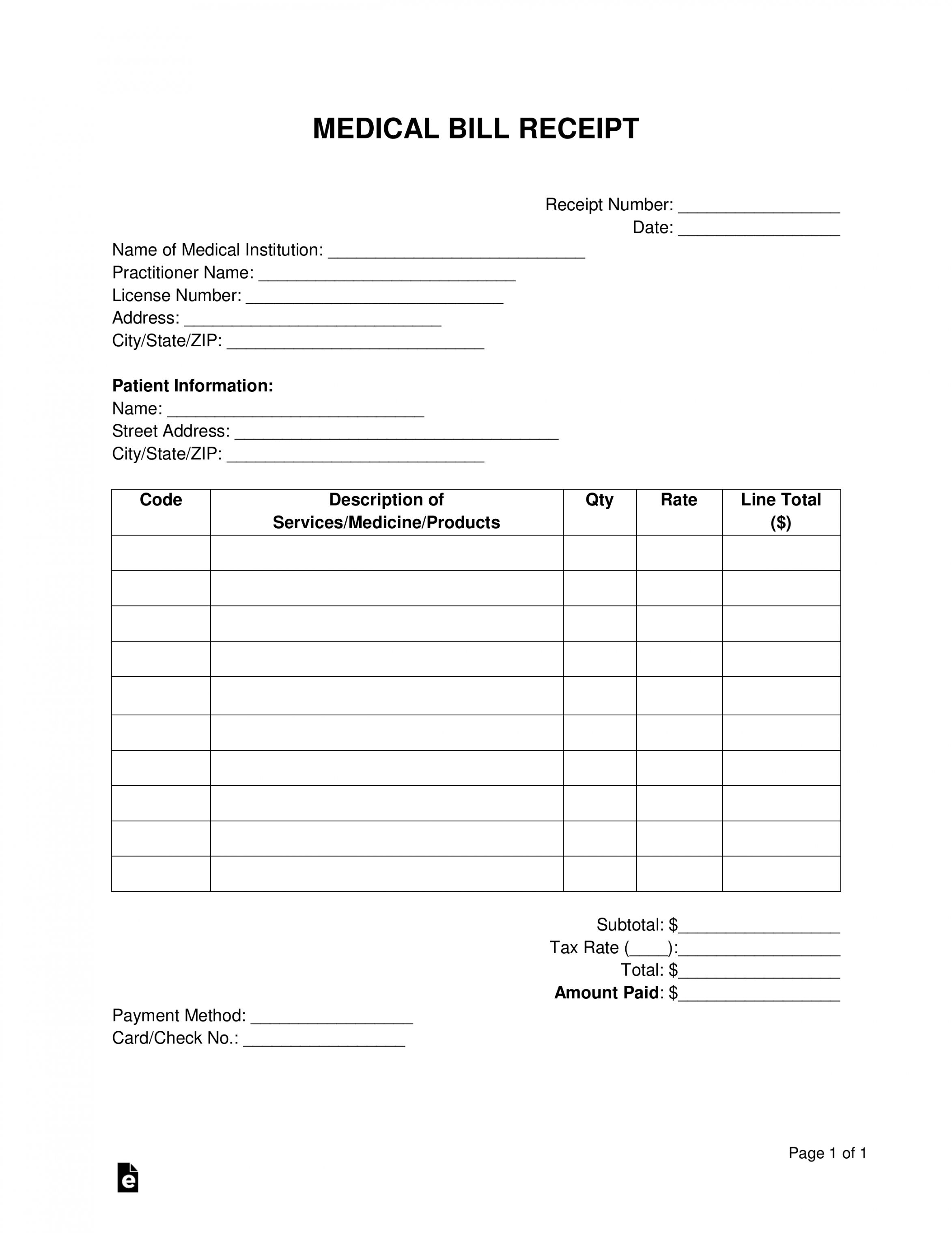 Get Our Example Of Medical Bill Template For Free Receipt Template Bill Template Invoice Template