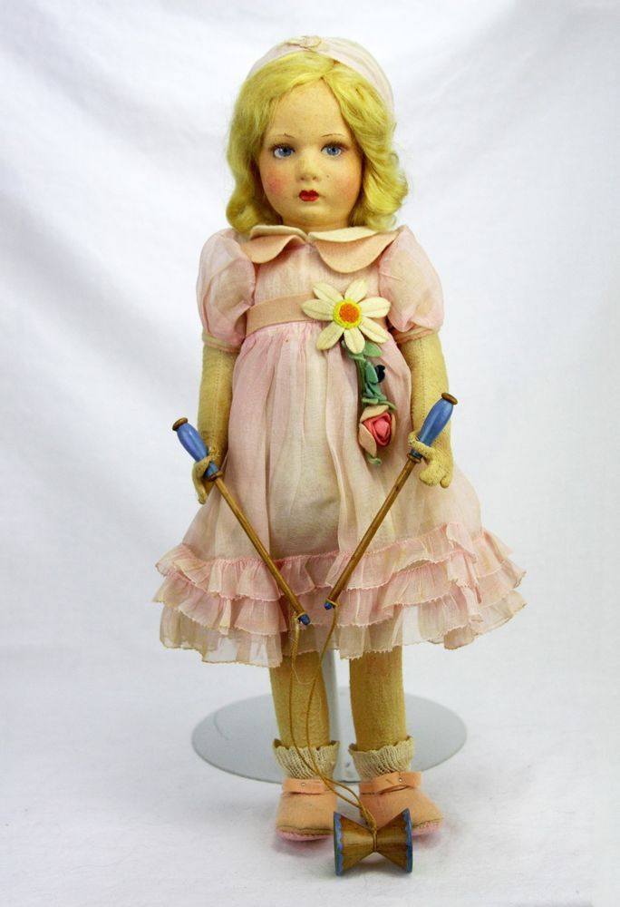 Antique Lenci Cloth Doll All Original with Rope Toy