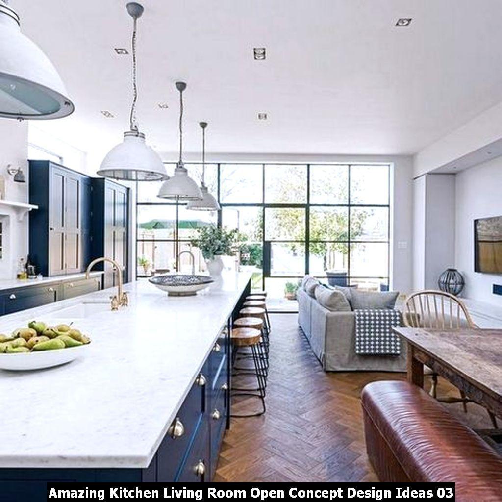 Amazing Kitchen Living Room Open Concept Design Ideas Pimphomee Kitchen Designs Layout Kitchen Design Layout Island Blue Kitchen Designs
