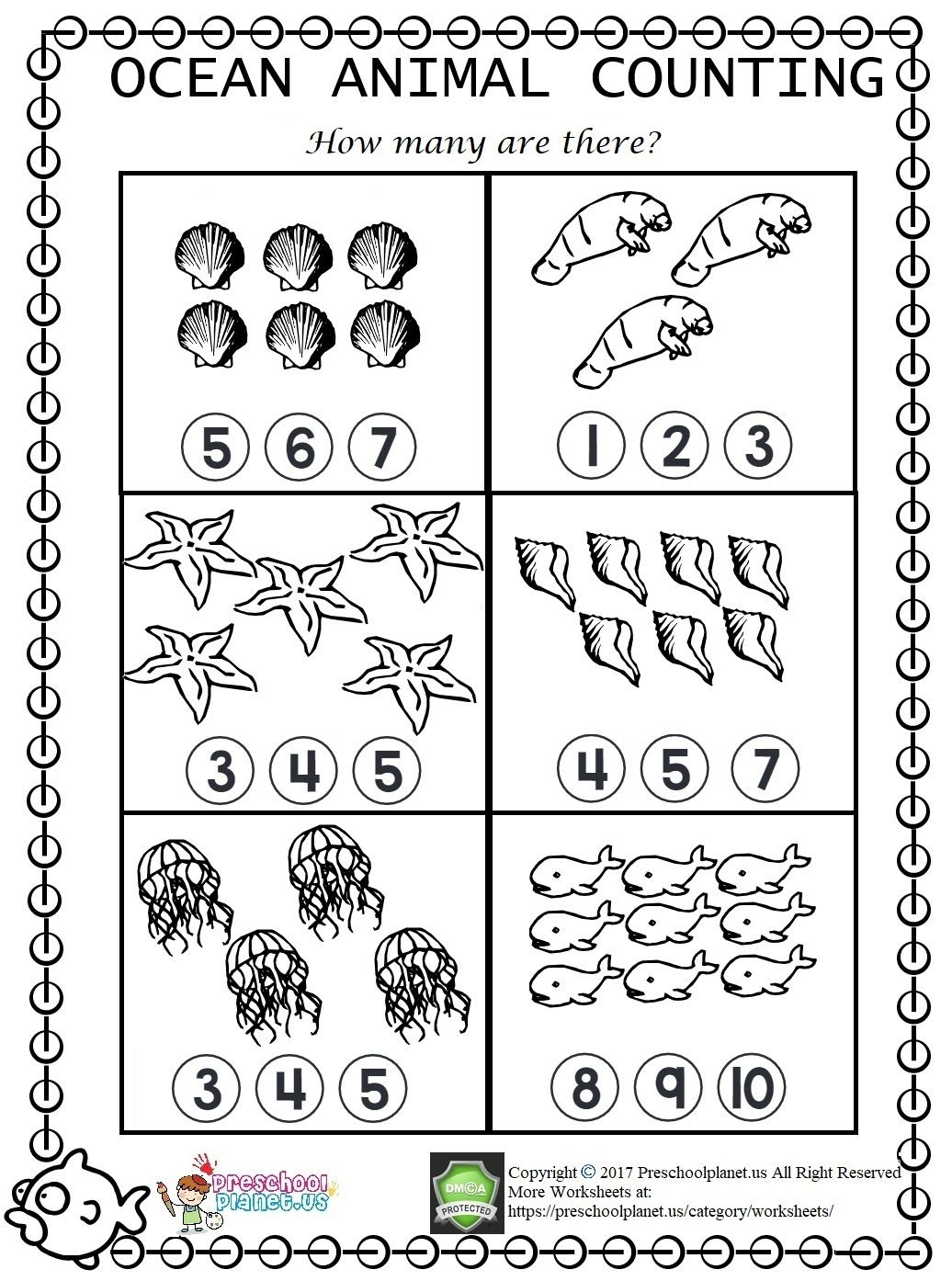 Sea Animal Counting Worksheet For Kindergarten And