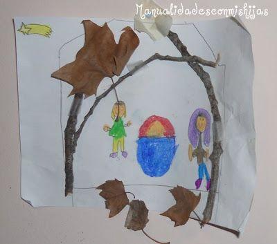 Manualidades con mis hijas: Belen muy sencillo con ramas y hojas